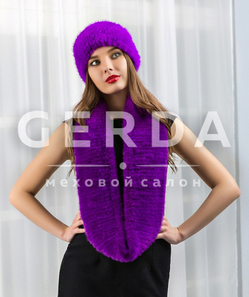 """Норковый шарф-хомут и повязка """"Креста"""" фиолет"""