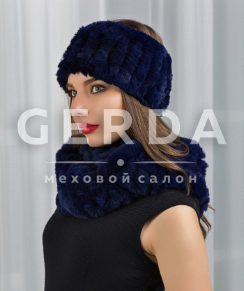 "Меховой шарф хомут и повязка ""Тина"" синий"