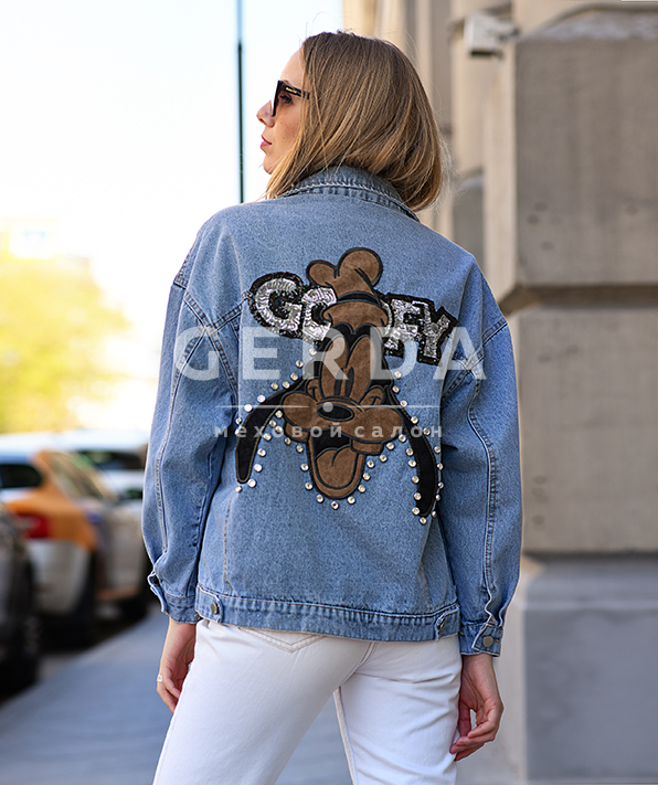 Джинсовая куртка с аппликацией Гуффи