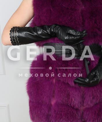Длинные кожаные перчатки ажурные
