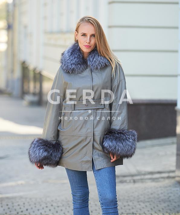 """Кожаное пальто с мехом """"Верона"""" серое"""