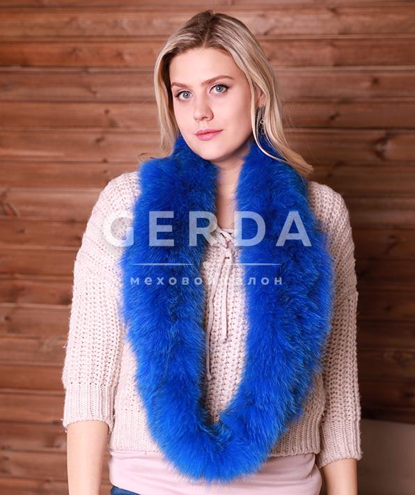 Меховой шарф-хомут синий