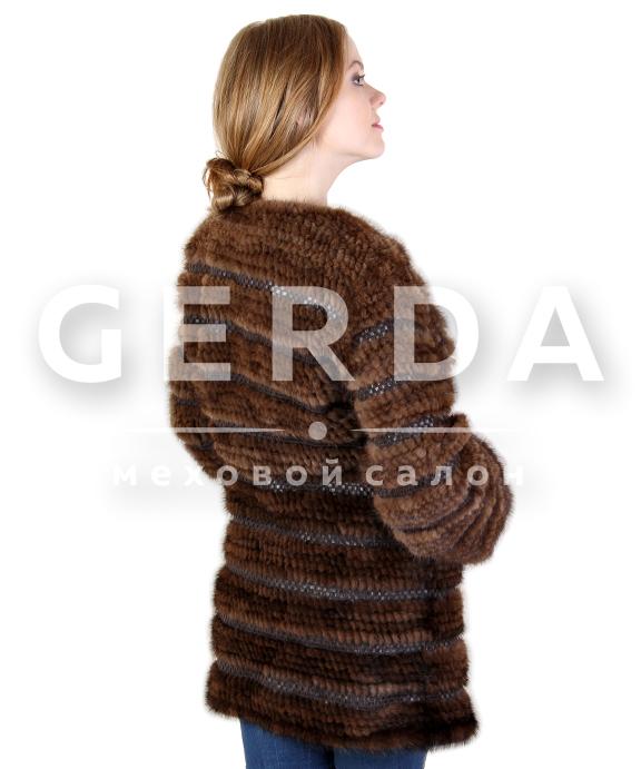 Шуба-пальто из вязаной норки с рукавами купить