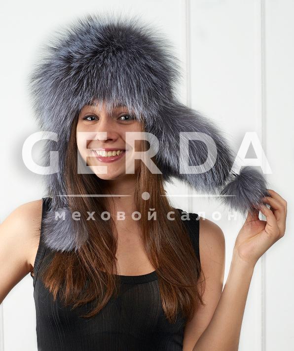 меховые шапки и капоры из вязаной норки чернобурки