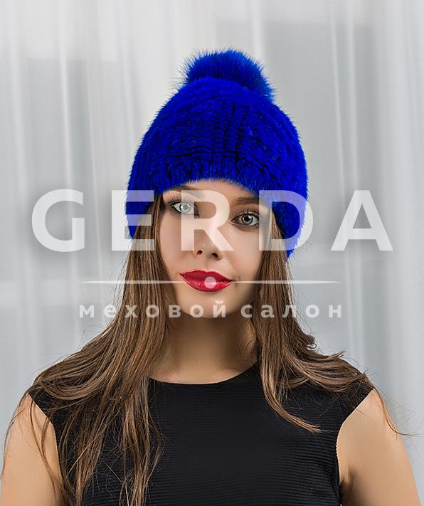 Норковая шапка синяя вязаная