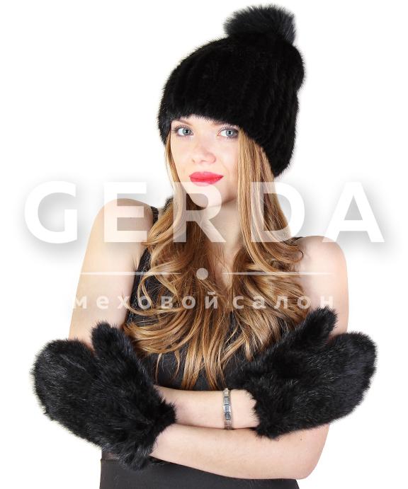 Норковая шапка из вязаной норки с пумпоном