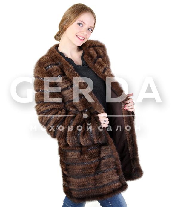 шуба пальто из вязаной норки с рукавами купить