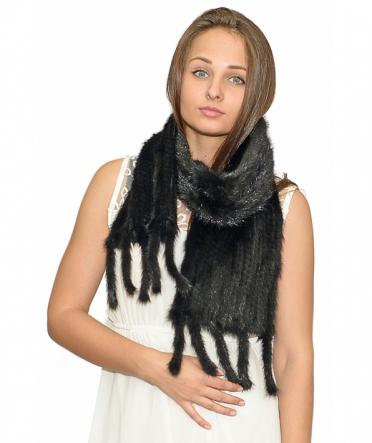 """Норковый шарф """"Ким"""" черный"""