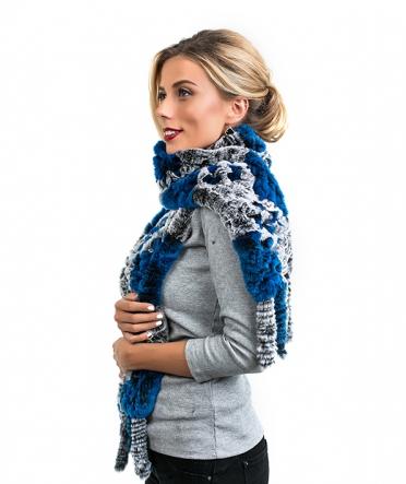 """Меховой шарф """"Лада"""" серо-синий"""