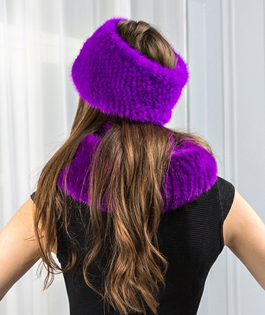 """Норковый шарф-хомут """"Креста"""" фиолет"""
