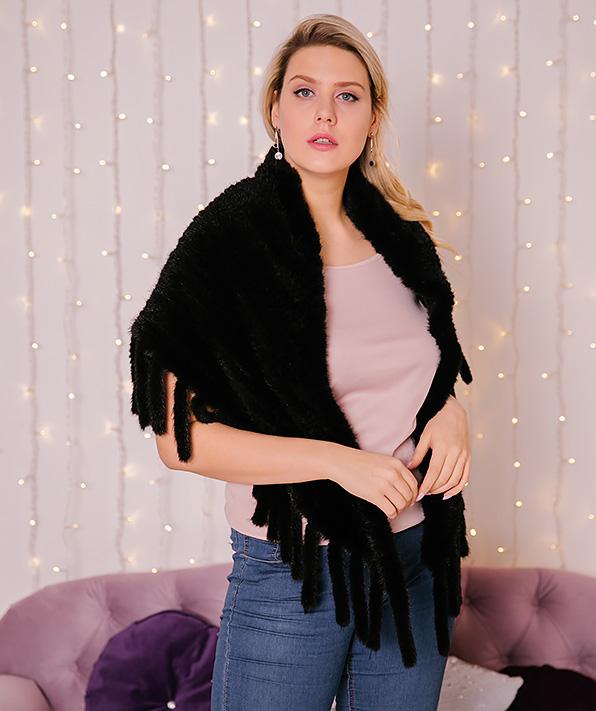 Накидка из вязаной норки черная