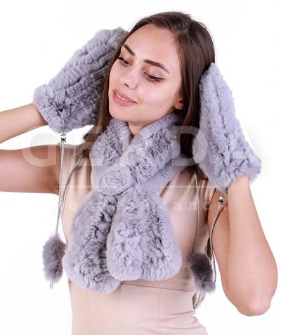 Варежки и шарф из кролика дымка