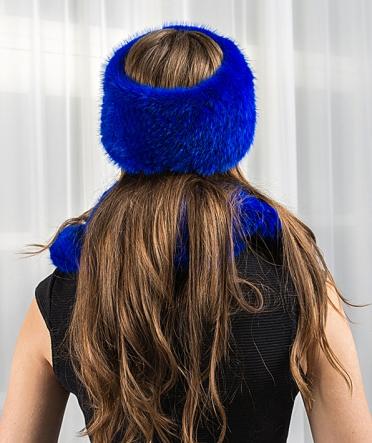 Шарф-хомут из меха норки синий
