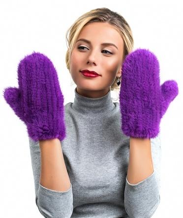 "Норковые варежки ""Сати"" фиолет"
