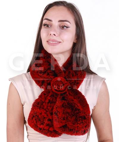 Меховой шарф красный