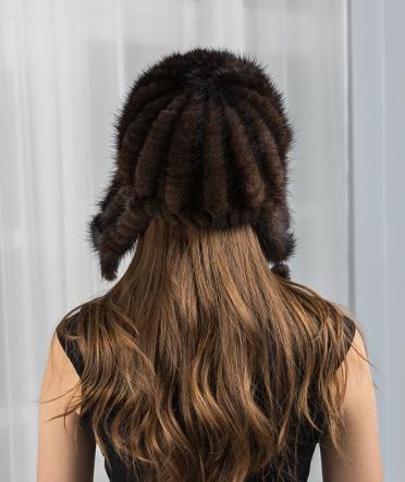 Норковая шапка махагон