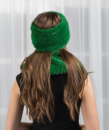 Шарф-хомут из норки зеленый