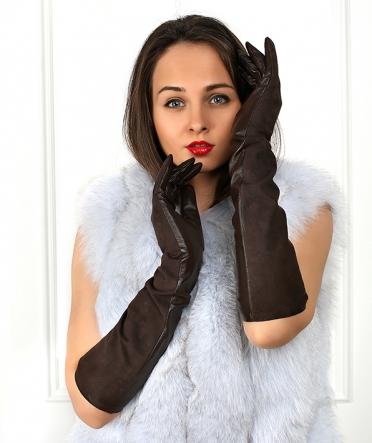 """Длинные перчатки """"Краса"""" коричневые"""