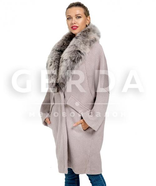 Пальто шерстяное с мехом