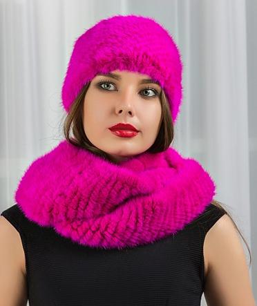 """Норковый шарф-хомут """"Креста"""" фуксия"""