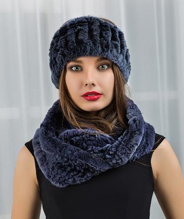 Меховой шарф хомут и повязка