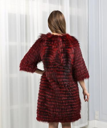 Меховое пальто цветное