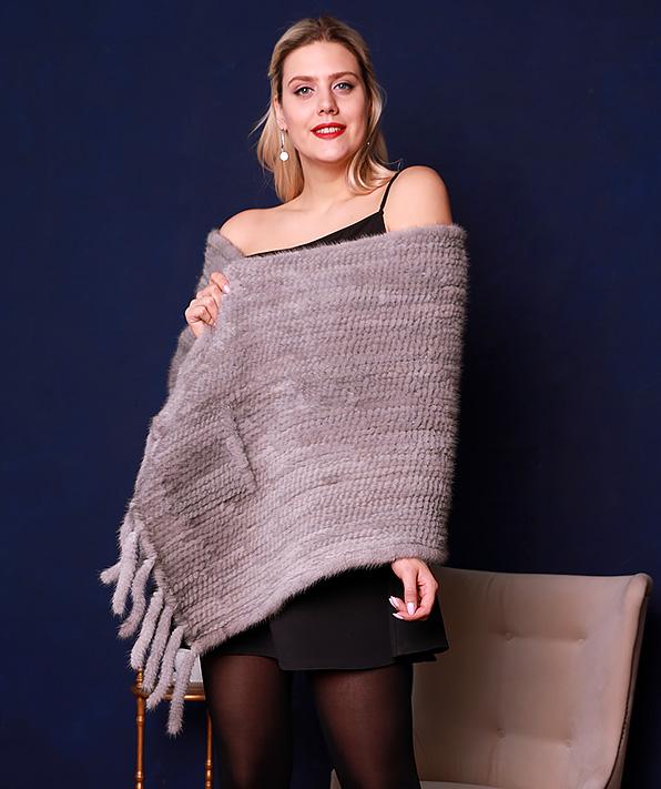 Палантин из вязаной норки