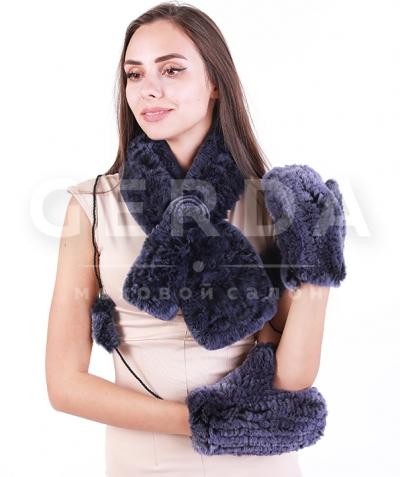 Варежки и шарф из кролика джинс