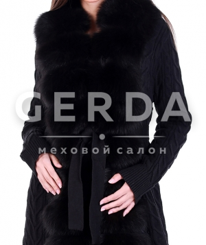 Кардиган с мехом черный
