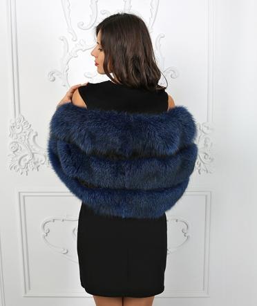 Меховая накидка из чернобурки синяя