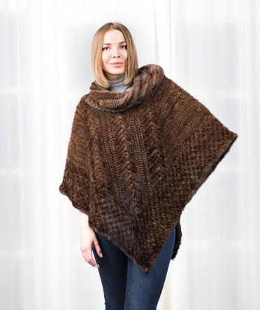 Норковое пончо вязаное