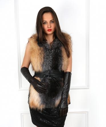 """Длинные кожаные перчатки """"Мила"""" коричневые"""