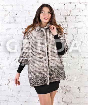 "Норковая куртка до 56 размера ""Ярослава"" сильвер"