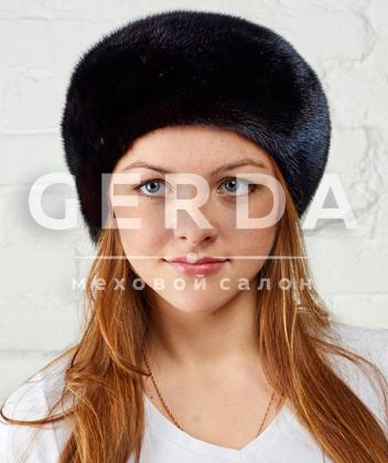 """Норковый берет """"Лиза"""" махагон"""