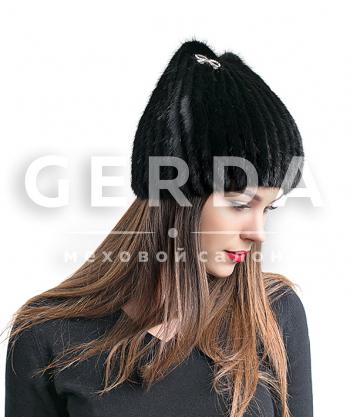 """Норковая шапка """"Кошка"""" черная"""