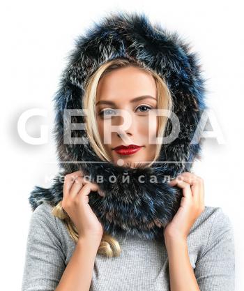 """Капор из песца """"Зима"""" цветной"""