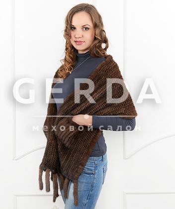 """Норковый шарф """"Лаура"""" махагон"""