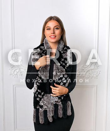 """Меховой шарф """"Лада"""" серо-черный"""