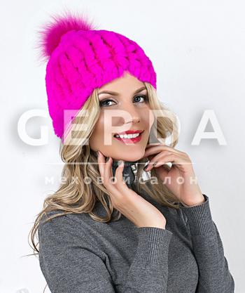 """Меховая шапка из кролика """"Вива"""" розовая"""