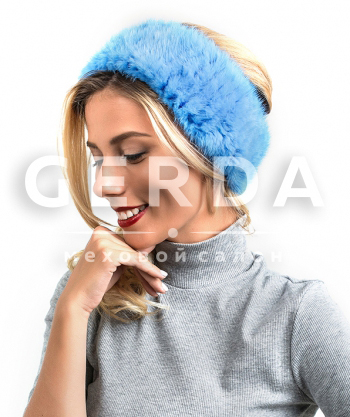 """Норковый ободок """"Лорель"""" голубой"""