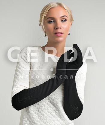 Длинные перчатки тканевые черные