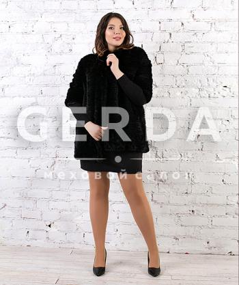 """Пальто из норки до 56 размера """"Ярослава"""" черная"""
