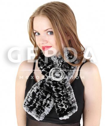 """Меховой шарф """"Дина"""" черно-серый"""