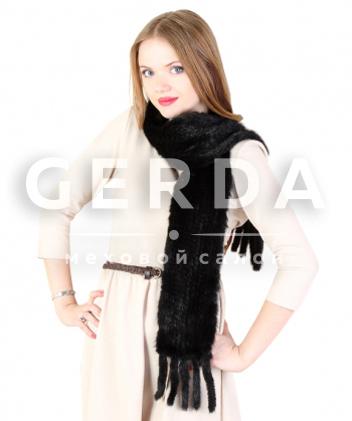"""Меховой шарф """"Лив"""" черный"""