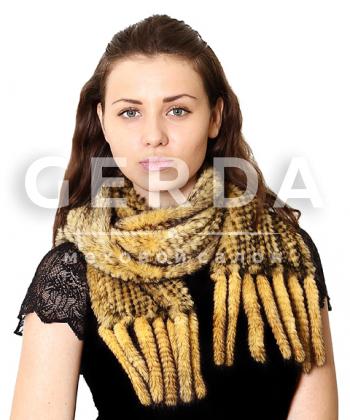 "Норковый шарф ""Ким"" горчица"