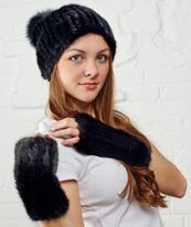 """Комплект шапка и митенки """"Джерси+Имидж"""" черный"""